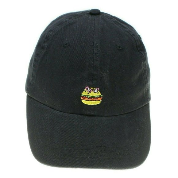 COTTON ON Womens Black Embroidered Hamburger Cap